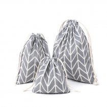 Хлопковая сумка-мешочек серо-белый, размер М (20х23 см)