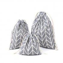 Хлопковая сумка-мешочек серо-белый, размер L (25х30 см)