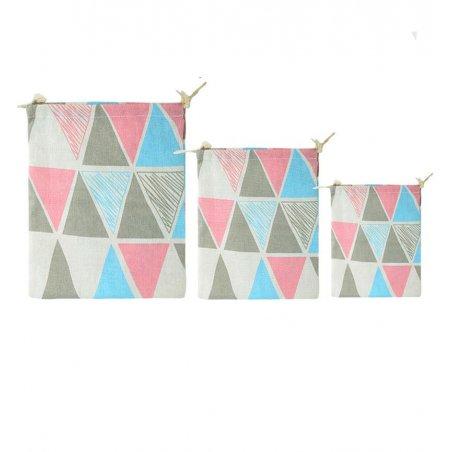 Хлопковая сумка-мешочек Треугольники, размер L (25х30 см)