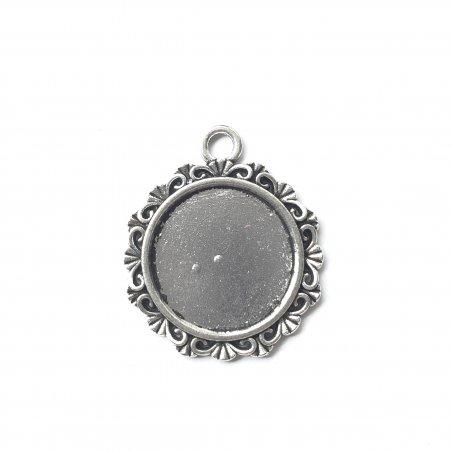 Основа для кулона 2,5 см (площадка 1,8 см), тибетское серебро