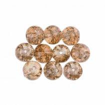 №46 Бусины с эффектом битого стекла светло-коричневые, 0,6 см, 10 штук