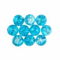 №140 Бусины с эффектом битого стекла небесно-голубые, 1 см, 10 штук