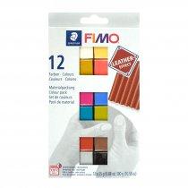 Набор полимерной глины FIMO Leather Effect, 12 цветов по 25 г 8013