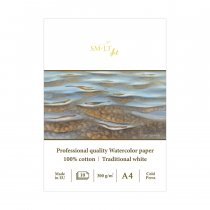 Склейка для акварели PRO CREATE А4, 300 г/м2, 10 л., белая бумага, SMILTANIS