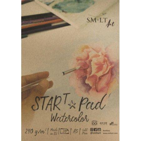 Склейка для акварели STAR T, SMILTAINIS А5, 240 г/м2, 20 листов, цвет белый
