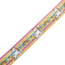 """Репсовая лента с рисунком """"Единорожки"""", 2,5 см, 1 метр"""