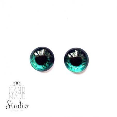 Глазки стеклянные для кукол №77227 (пара), 8 мм, цвет серо-голубой