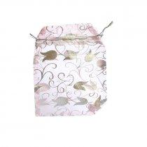 """Подарочный мешочек """"Серебристые тюльпаны на розовой органзе"""", 12х9,5 см"""
