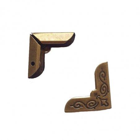 Уголок металлический С-134-2, цвет старая латунь 20х4 мм (2 штуки)