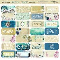 Лист двусторонней бумаги 20х20 см Билетики Nautical Grappic от Scrapmir, 190 г/м2, 1 лист