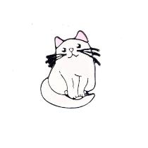 Металлический значок Белый кот, 2,7х2 см