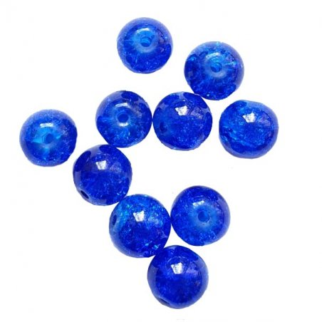 №176 Бусины с эффектом битого стекла синие, 1 см, 10 шт