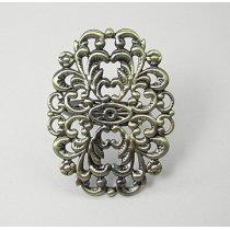 Основа для кольца с ажурной платформой, цвет бронза, 31х24 мм