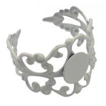 Основа для кольца ажурная с платформой, цвет белый
