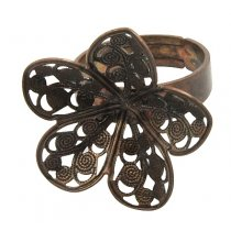 Основа для кольца с ажурной платформой Цветок, цвет античная медь