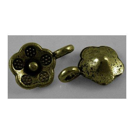 Односторонняя металлическая подвеска Цветок, цвет античная бронза, 10х14 мм (2 штуки)