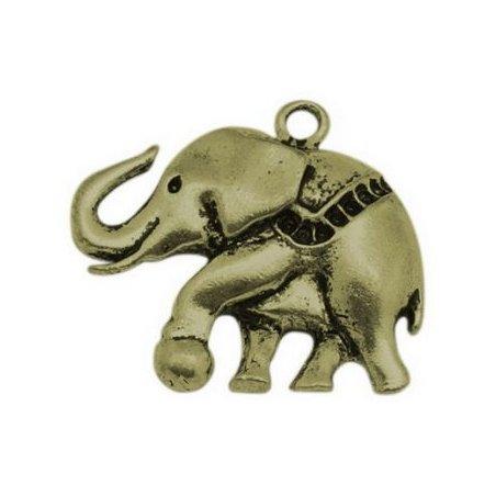 Односторонняя металлическая подвеска Слон, цвет античная бронза, 35х32 мм (1 штука)