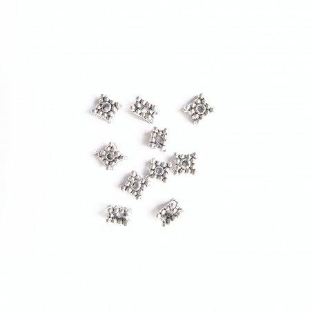 Разделитель кубический для бусин, 5х5 мм, цвет античное серебро, 10 штук