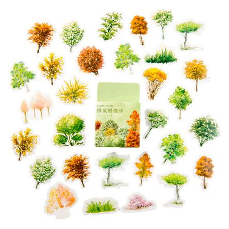 """Мини-стикеры (наклейки) """"Деревья"""" (46 шт)"""