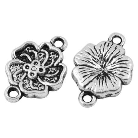 Коннектор в тибетском стиле Цветок, цвет античное серебро, 16х11,5 мм (4 штуки)