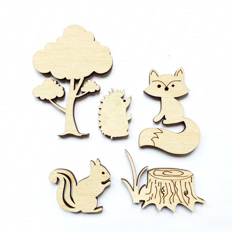 Набор деревянных заготовок Лесные жители, 5 фигурок