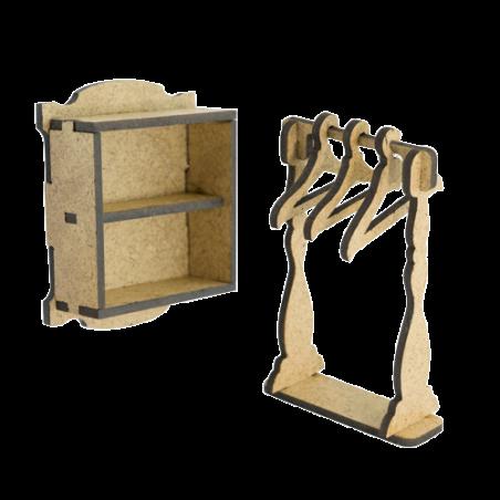 3Д заготовки кукольной мебели - полочка, вешалка, №053