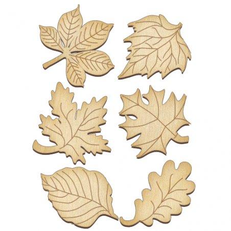 Набор деревянных фигурок Осенние листья, 6 штук