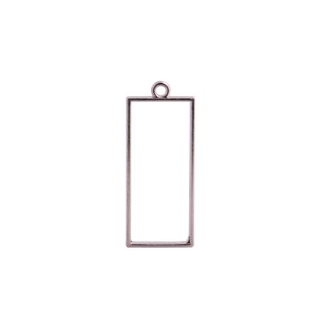 """Рамка (сеттинг) под заливку эпоксидной смолой """"Прямоугольник"""" (сталь), 1,7х4,2 см"""