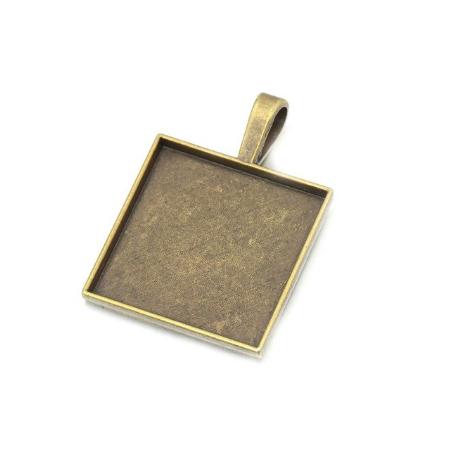 Основа для декорирования квадратная, 28х28 мм, цвет - бронза, 1 штука