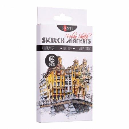 "Набор маркеров SANTI-sketch ""Urban Sketch"" , 6 цветов"
