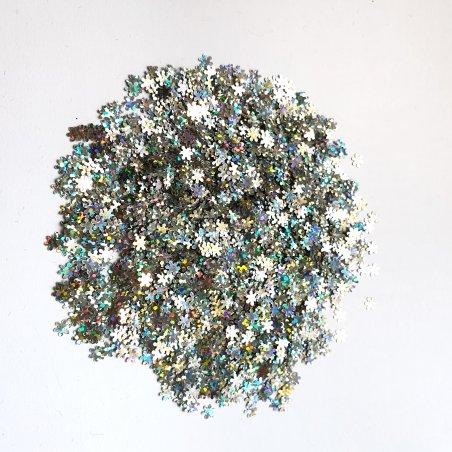 Глиттер мелкие снежинки, цвет - голографическое серебро, 10 г