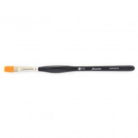 Кисть плоская синтетика Santi Sensation, короткая ручка с изгибом №6