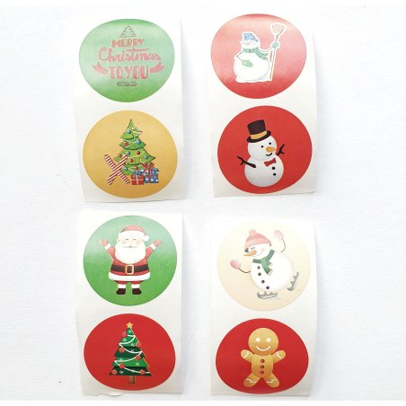 """Круглые мини-стикеры (наклейки) """"Merry Christmas"""" d 2,5 см, 8 наклеек"""