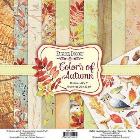 """Набор двусторонней бумаги 20х20 см """"Colors of Autumn"""",  200г/м2, 10 листов"""