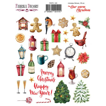 "Набор наклеек (стикеров) ""Our warm Christmas"", №141"