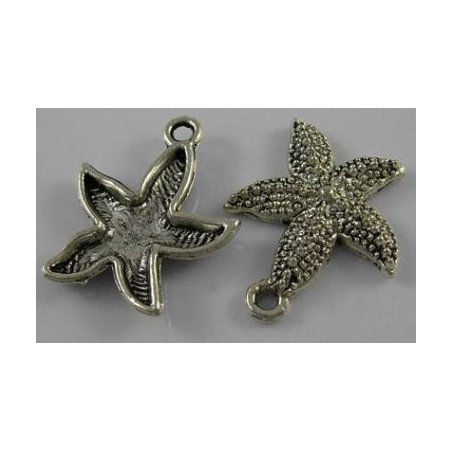 Односторонняя металлическая подвеска Морская звезда №2, цвет античное серебро, 21х19 мм (2 штуки)