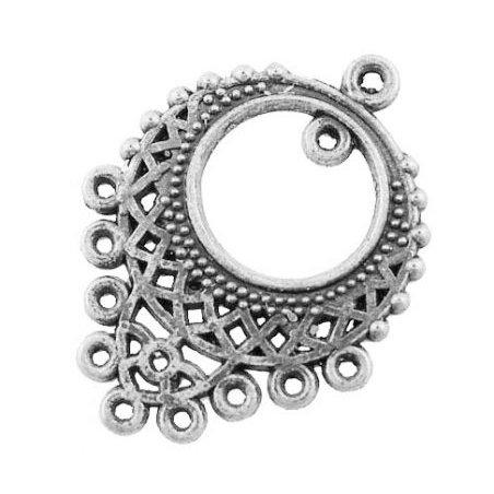 Коннектор в тибетском стиле, 11 отверстий, 34х25,5 мм, цвет античное серебро (2 штуки)