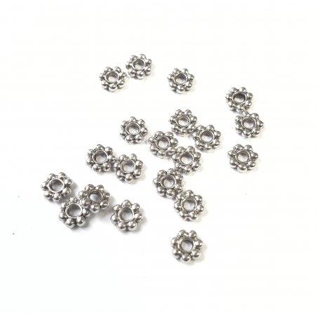 Разделители для бусин 4 мм №55, цвет - тибетское серебро, 20 штук