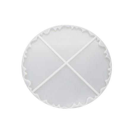 """Силиконовая форма под заливку эпоксидной смолой """"Круг из 4 частей"""", d=20,5 см"""