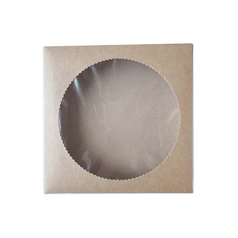 Коробочка для упаковки (дно+крышка) №0551, цвет крафт, 20х20х3,5 см