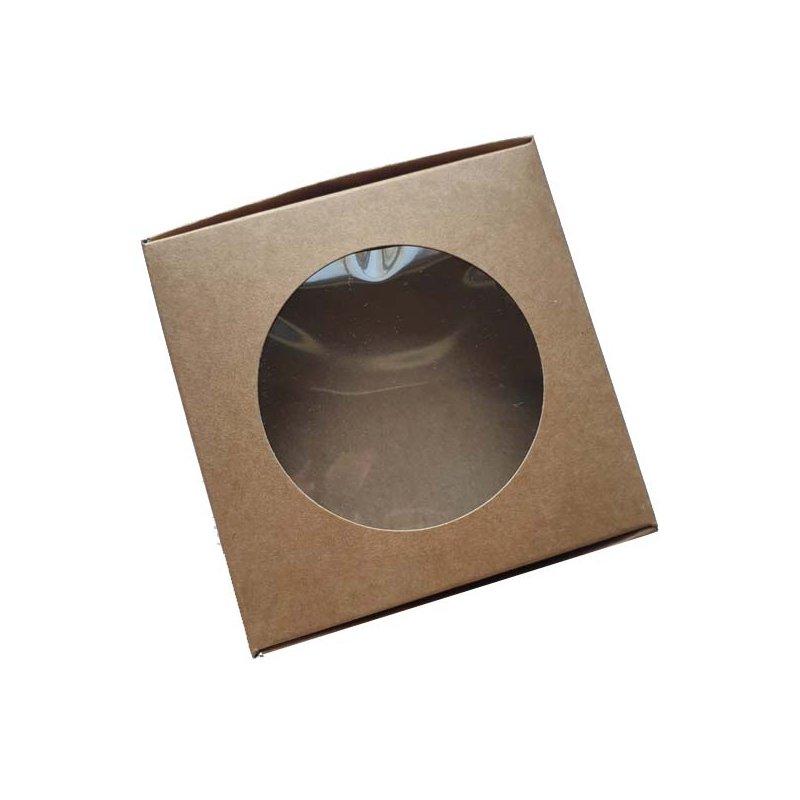 Коробочка с прозрачным круглым окошком №0552, цвет крафт 10х10х3,6 см