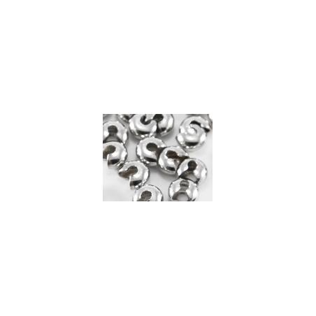 Обжимные бусины, 4 мм, цвет сталь, 20 штук