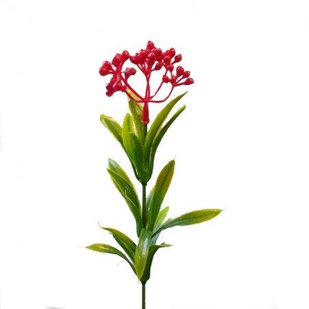 """Искусственная зелень """"Веточка с красными ягодами"""" №55, 20 см"""