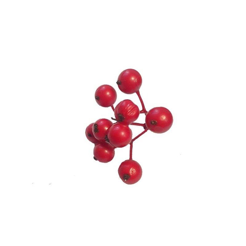 Декоративная веточка с красными ягодами, 5 см