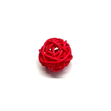 Шарик из ротанга, цвет красный, 2,5 см