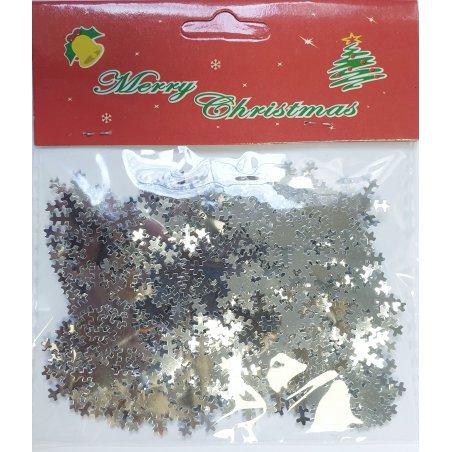 Набор пайеток Снежинки (8-10 г), цвет серебро