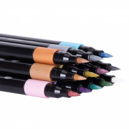 "Фломастеры-кисточки ""REAL BRUSH"", MAXI (металлики), 0,5-6 мм, 12 цветов"