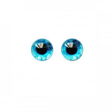 Глаза стеклянные для кукол №77335 (пара), 6 мм, цвет темно-голубой