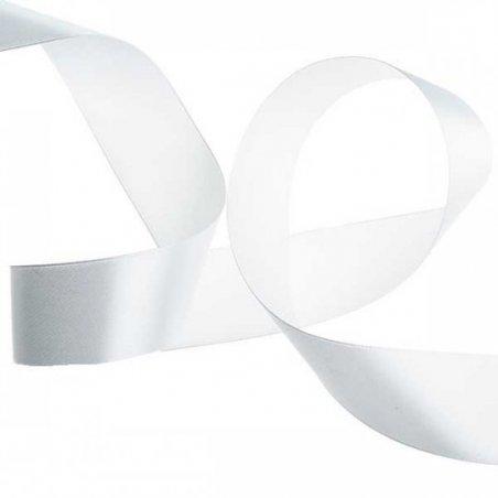 Атласная лента, цвет белый, 40 мм (22 м)