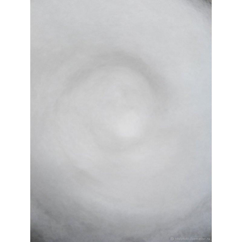 Шерсть новозеландский кардочес К1000 (27мк.), ультра-белый, 25г